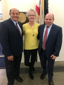 AWFS Education Director Nancy Fister (center) and AWFS Public Policy Chair Dave Golling (right) meet with Rep. Jose Luis Correa (D-CA)